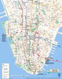 lower manhattan key bus map  new york map