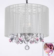 g7 b21 white 604 3 gallery chandeliers crystal chandelier chandeliers with large white shade and pink crystal hearts
