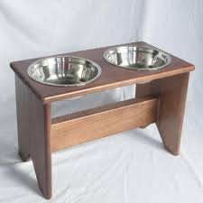 elevated dog bowl stand wooden 2 bowls 400