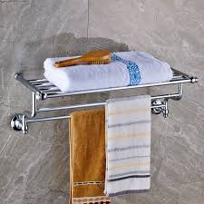 bath towel holder for wall. Luxury Bathroom Bath Towel Rack Double Bar Chrome Finish Holder Wall Mounted-in Racks From Home Improvement On Aliexpress.com For
