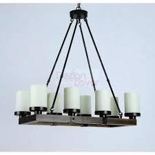 vintage antique wood rustic candle chandelier metal led rectangular