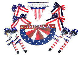Red White Blue Solar Lights Patriotic Decorations Set Led Solar Lights Red White And Blue Bows American 12 Ft Banner With 10 Pennants America Glittered Sign