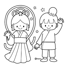 手をふるおりひめとひこぼしのイラストぬりえ Preschool 織姫