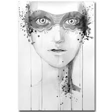 large canvas painting white and black girl face abstract art oil painting unframed modern wall art