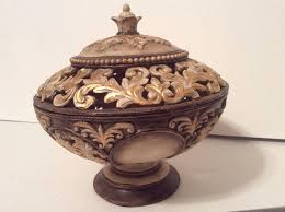 Gold Decorative Bowl Decorative Ornate Brushed Gold Resin Potpourri Bowl On Pedestal