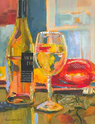 wine bottle wine glass original painting reminds me of drinking wine at your house