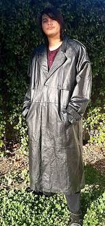 details about long black leather duster coat for big and tall men by kingsize size 3xl