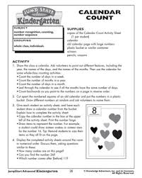 Calendar Count Fun Kindergarten Math Activities And Lesson