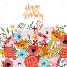 Happy Birthday Postcard Template With Cute Hand Drawing Bright