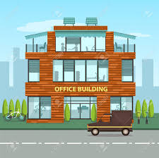 Cartoon Office Modern Office Building In Cartoon Flat Style Interior And Exterior