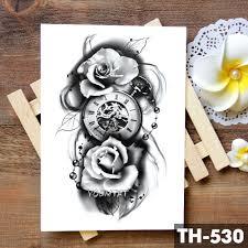 семья розы время часы череп временные татуировки стикеры скорпион башня