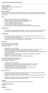 ... Early Childhood Education Resume 11 Early Childhood Education Resume  Samples Within ...