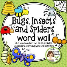 Bugs Music Chart Bugs And Insects Plus Spiders Word Wall Plus Vocabulary Chart Worksheets