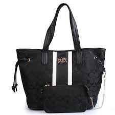Coach Legacy Striped Monogram Medium Black Totes FBJ ...