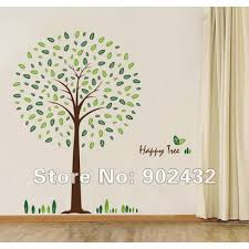 removable vinyl wall sticker happy tree home decoration wall decals 100 100cm jm8212