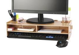 com azlife desktop monitor stand wooden monitor riser tv stand with slots for office supplies and storage space for keyboard and mouse