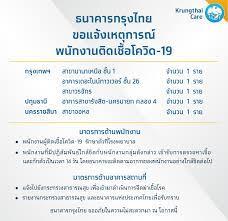 Krungthai Care - ธนาคารกรุงไทย ขอแจ้งเหตุการณ์พนักงานติดเชื้อโควิด-19  รายละเอียดเพิ่มเติม คลิก :  https://krungthai.com/th/krungthai-update/news-detail/754 กรุงเทพฯ -  สาขานานาเหนือ ชั้น 1 จำนวน 1 ราย - อาคารเดอะไนน์ทาวเวอร์ ชั้น 26 จำนวน 1  ราย - สาขา ...
