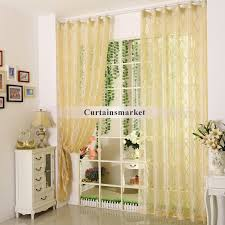 pale yellow polyester fabric sheer curtains with patterns