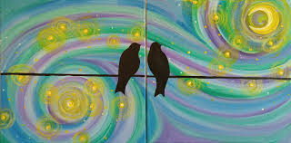 a starry night for lovebirds step by step acrylic painting on canvas for beginners you