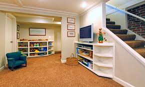 basement ideas for kids area. Exclusive Finished Basements Ideas For Enhanced Room Extension: Cool White Modern Basement Kids Space With Area