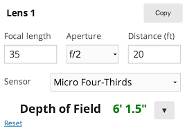Lens Dof Chart Documentation Depth Of Field Calculator Comparison Tool