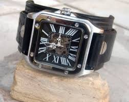 men leather cuff watch distressed leather wrist watch flip mens leather cuff watch steampunk cuff watch skeleton mechanical leather stainless steel wrist watch hand winding