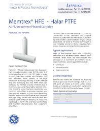 Memtrex Hfe Halar Ptfe Lenntech All Fluoropolymer Pleated