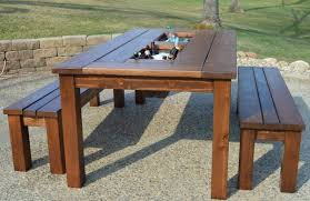 Brilliant DIY Outdoor Patio Table Remodelaholic Build A Patio Table With  Built In Ice Boxes