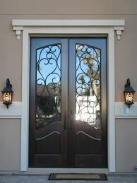 glass front doors with iron. Contemporary Iron Decoration Inspiring Black Double Entry Doors With Wrought Iron Glass  Inserts And White Crown Molding Also Oil Rubbed Bronze Lever Handles Alongside Antique  And Glass Front Doors With Iron I