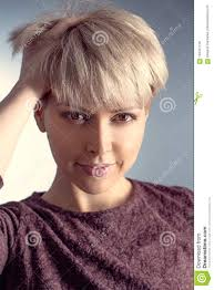 Beautiful And Blonde With A Short Haircut Toning Portrait Stock