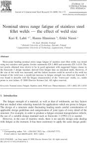 Nominal Stress Range Fatigue Of Stainless Steel Fillet Welds