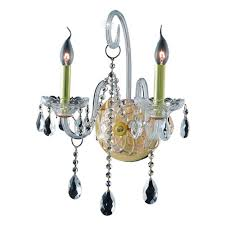 elegant lighting 2 light gold wall sconce with clear crystal