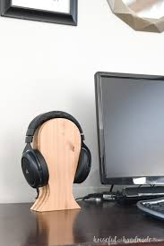 diy headphone stand made from plywood ss on a desk