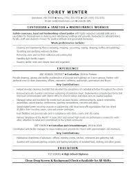 Janitor Description For Resume Custodian Resume Sample Janitor