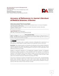 Pdf Accuracy Of Reference In Journal Literature Of Medical Sciences