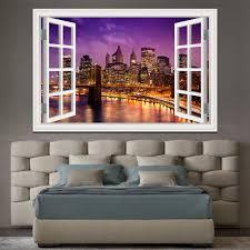 New York Brooklyn 3d Fenster Ansicht Wand Aufkleber Abnehmbare Nacht