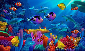 ocean of life under sea painting in oil for