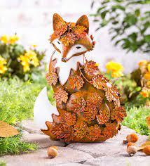 handmade metal fall leaves fox garden
