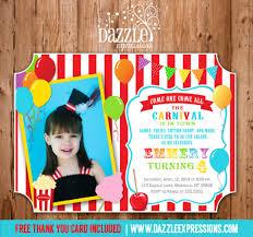 Carnival Birthday Invitations Circuscarnival First Birthday Photo Invitation Printable