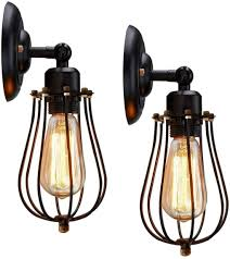 Industrial Cage Work Light Chandelier Kingso Rustic Wall Sconces 2 Pack Wire Cage Wall Sconce Black Hardwire Industrial Wall Light Fixture Vintage Style Wall Lamp For Home Decor