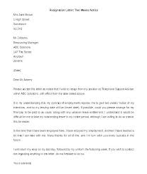 One Week Notice Resignation Letter Template For Handing In Notice To Landlord Notice