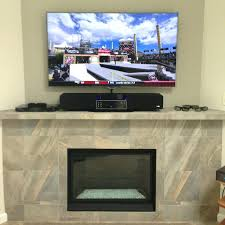 gallery pictures for installing tv above stone fireplace