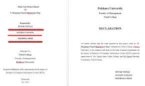 College Report Title Page Final Year Report On E Shopping Title Page Of The Report Part I