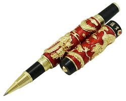 <b>Jinhao</b> Red <b>Cloisonne Double</b> Dragon Rollerball Pen Big and ...