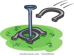 horseshoe game clipart. Wonderful Game Illustration Of Players Throwing Horseshoes Towards A Metal Rod Erected On  Patch Grass And Horseshoe Game Clipart O