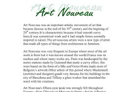 start early and write several drafts about art nouveau essay the jewellers of paris and brussels defined art nouveau in jewellery and in these cities it achieved the most renown compare and contrast arts and crafts