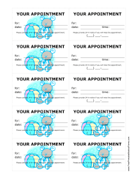 Doctor Appointment Card Template Printable Pediatrician Appointment Treatment Reminder Cards