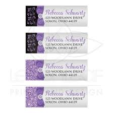 silver address label chic bat mitzvah address labels purple black silver floral