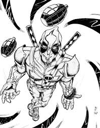 Small Picture Printable coloring pages Deadpool Superheroes Superheroes