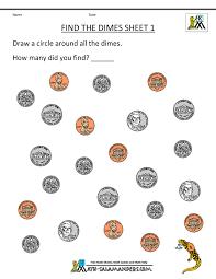 Kindergarten Money Worksheets 1st Gradefree kindergarten math worksheets find the dimes 1